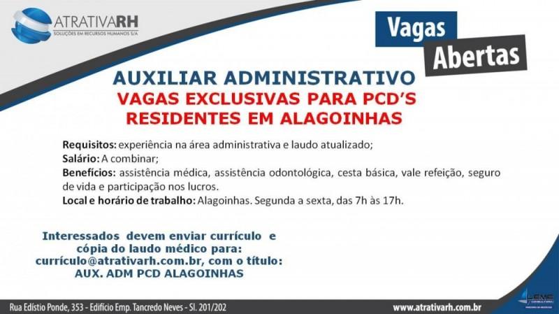 RH Seleciona auxiliar administrativo PCD's em Alagoinhas