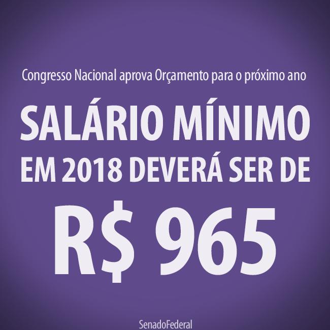 Salário mínimo em 2018 deverá ser de R$ 965,00 reais