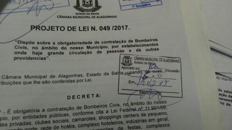 Câmara municipal aprova projeto de Lei que torna obrigatório a contratação de Bombeiros Civis em Alagoinhas
