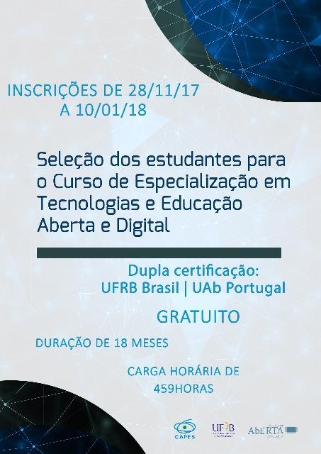 UFRB oferta curso EaD de Especialização com dupla certificação em Educação Aberta e Digital
